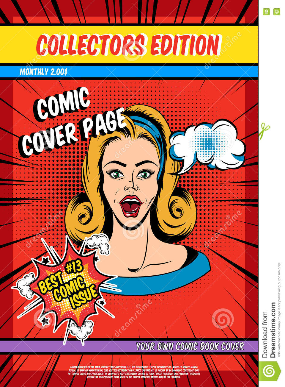 Book Cover Illustration Fee ~ Comic book cover page stock vector illustration of effect