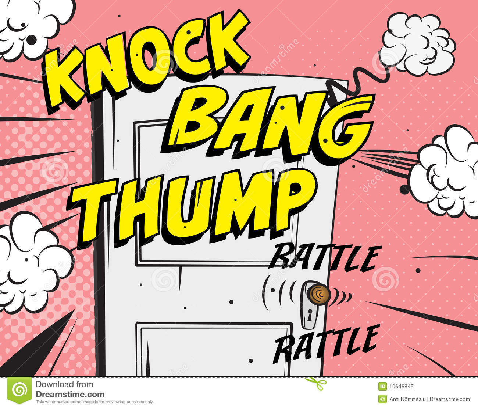 Comic book - door knocking. Additional format Illustrator 8 eps.