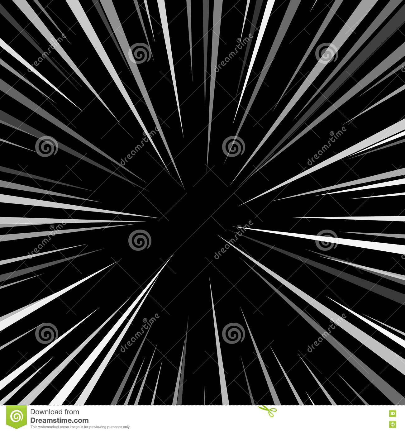 Comic Book Explosion Superhero Pop Art Style Black And White Radial Lines Background Manga Or