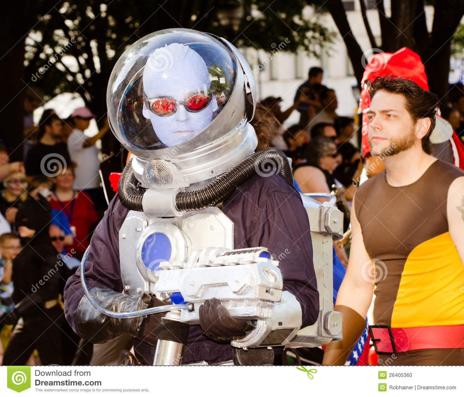 A comic book fan dressed as Mr. Freeze