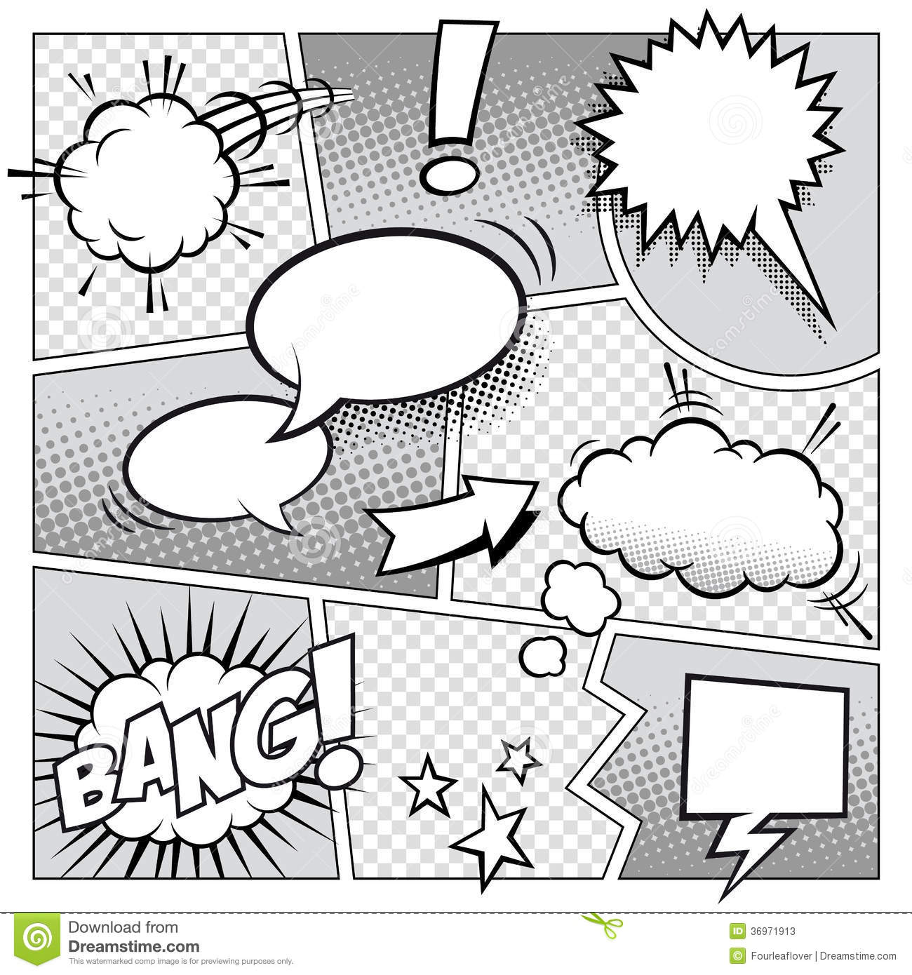 Drawing Lines Sound Effect : Comic book page divided by lines with speech bubbles