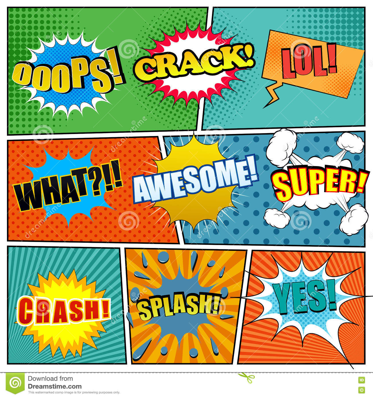 comic book page template with expressions stock vector