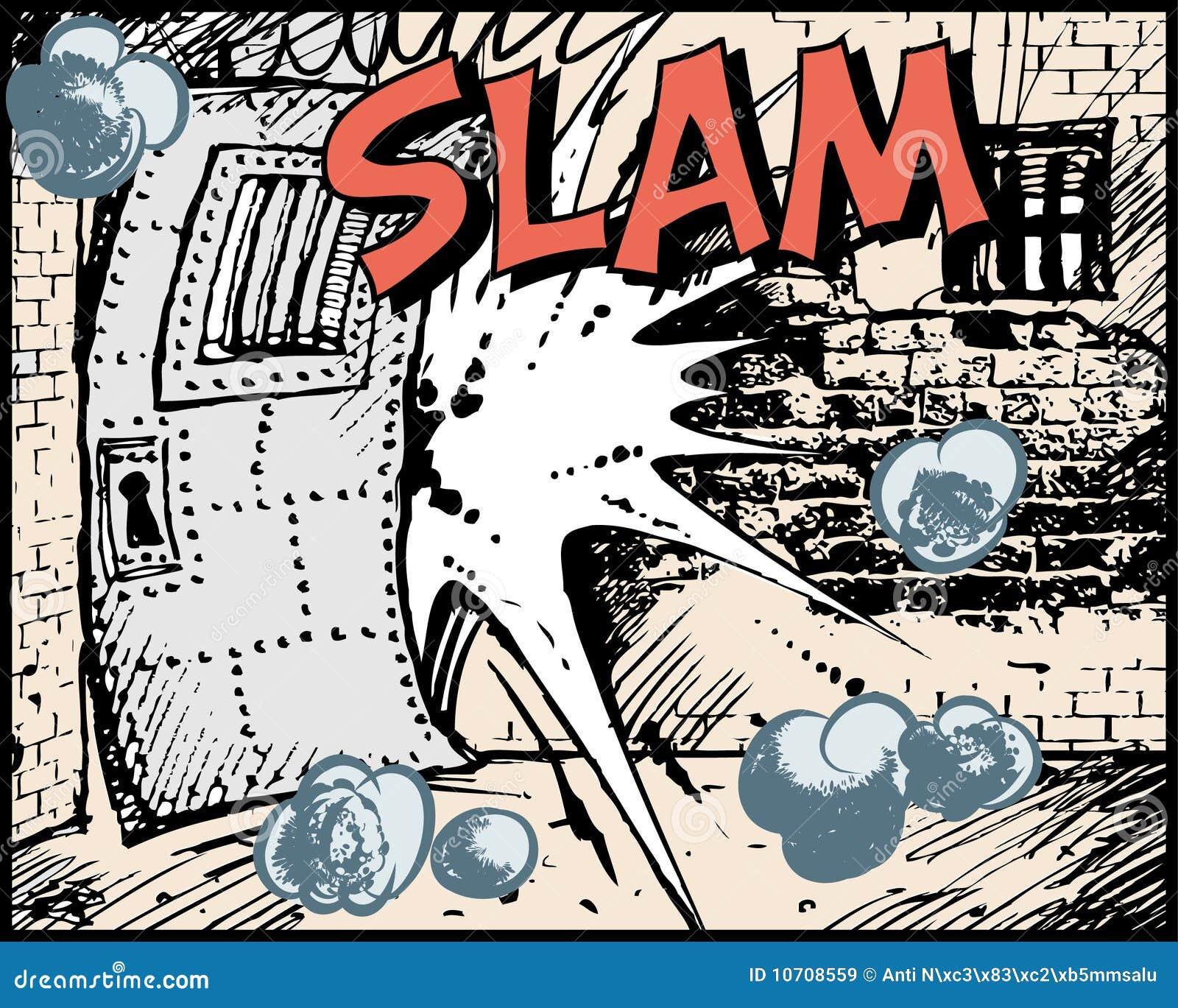 comic slam fight noise element door .