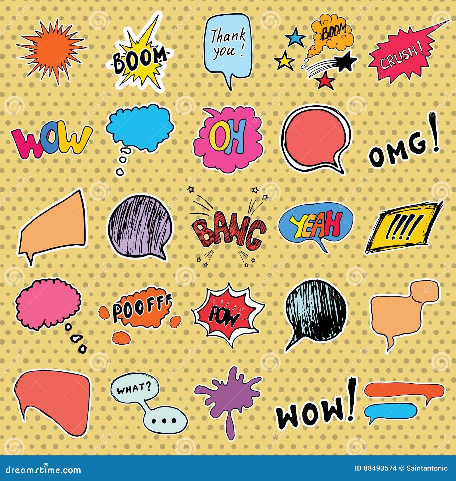 Comic Book Speech Bubbles And Cartoon Sound Effects Set  Hand Drawn