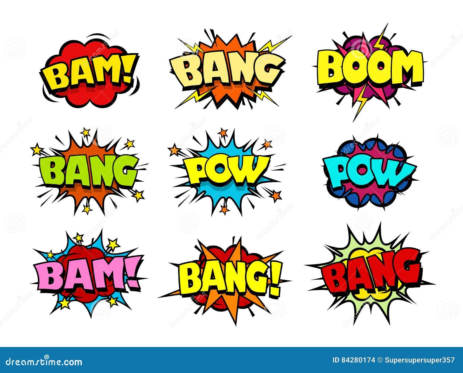 Comic Book Action Bubbles Vector
