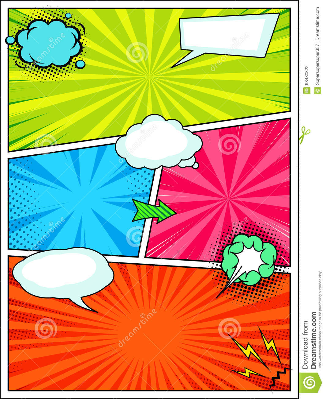 Comic Book Style Background Template Pop Art Poster Stock Vector