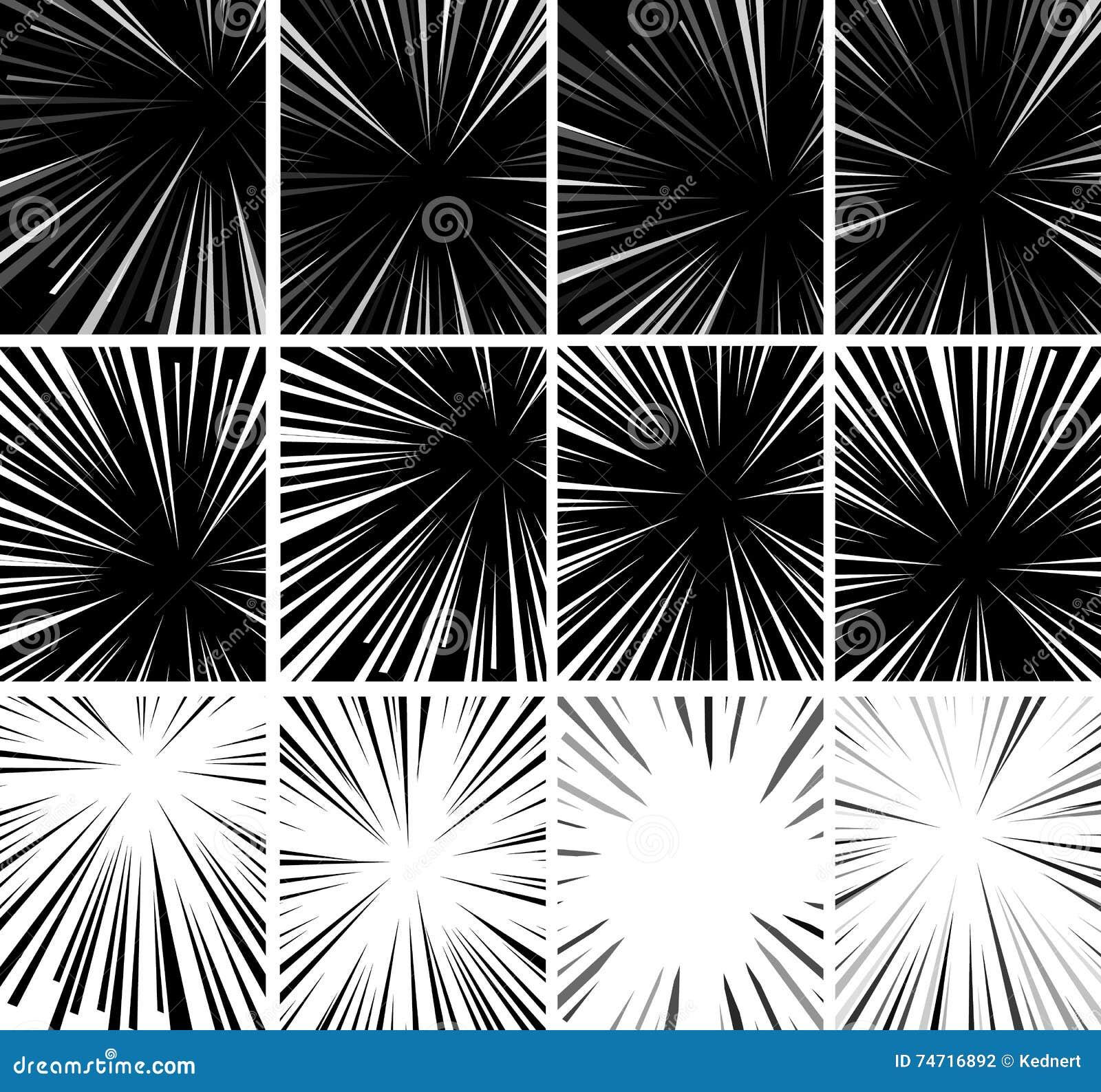 Comic book superhero pop art style black and white radial lines background manga or anime