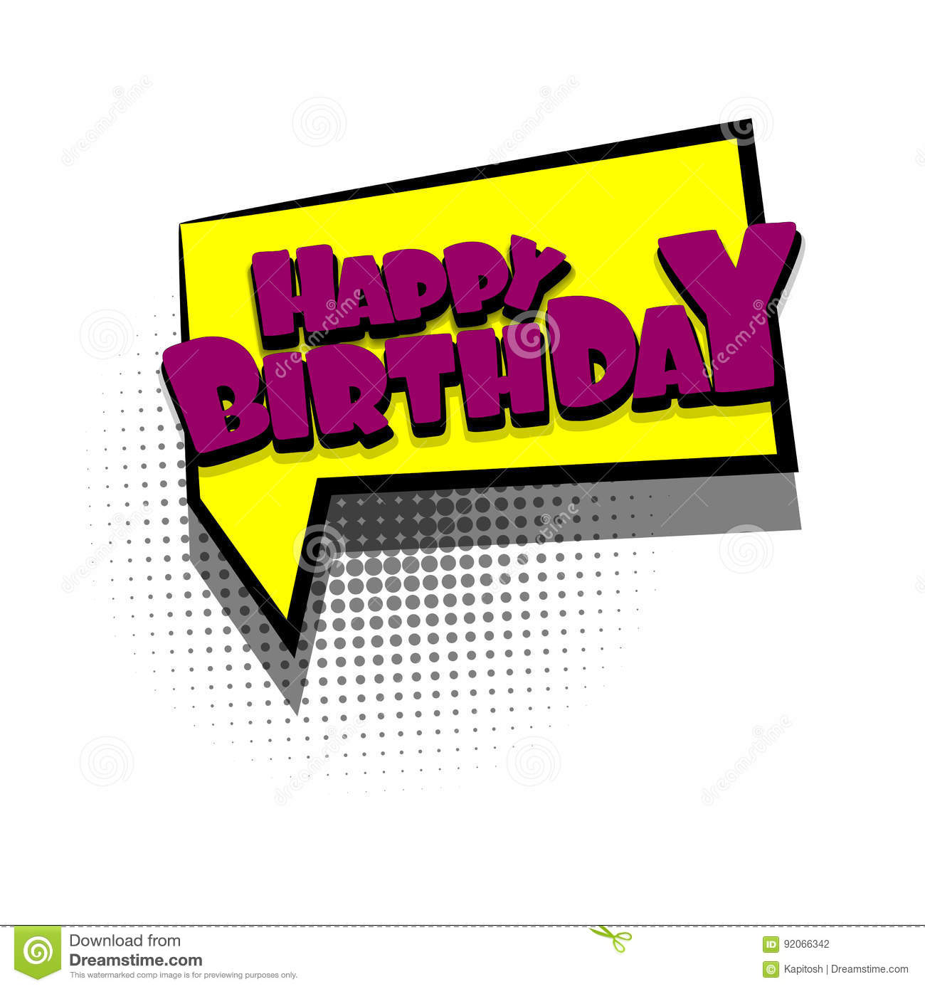 Comic Book Text Bubble Happy Birthday Stock Vector Illustration Of Background Funny 92066342
