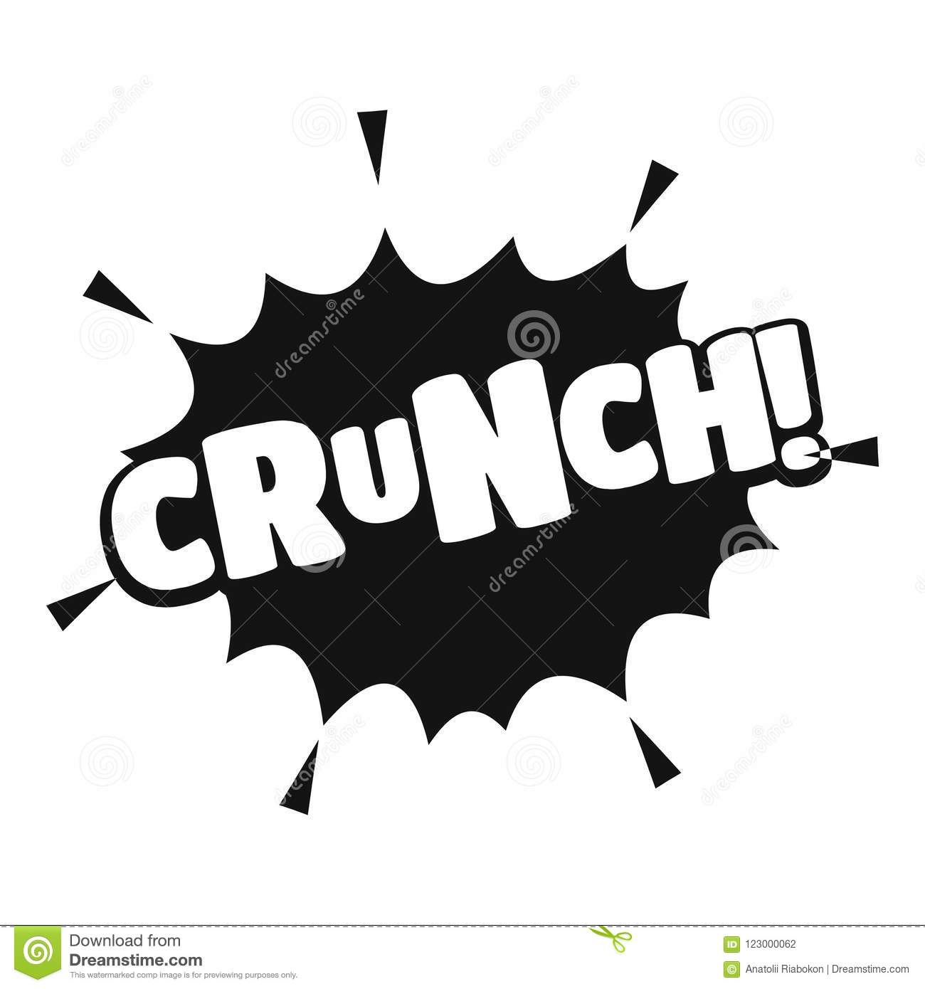 Comic boom crunch icon, simple black style