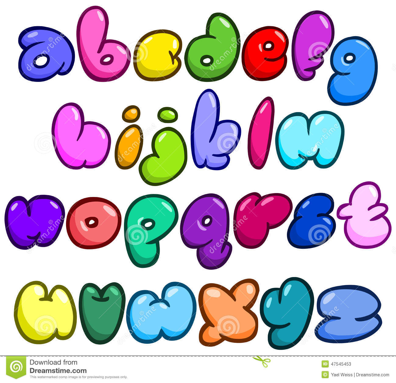 Comic Bubble Lower Case Alphabet Stock Vector Illustration Of