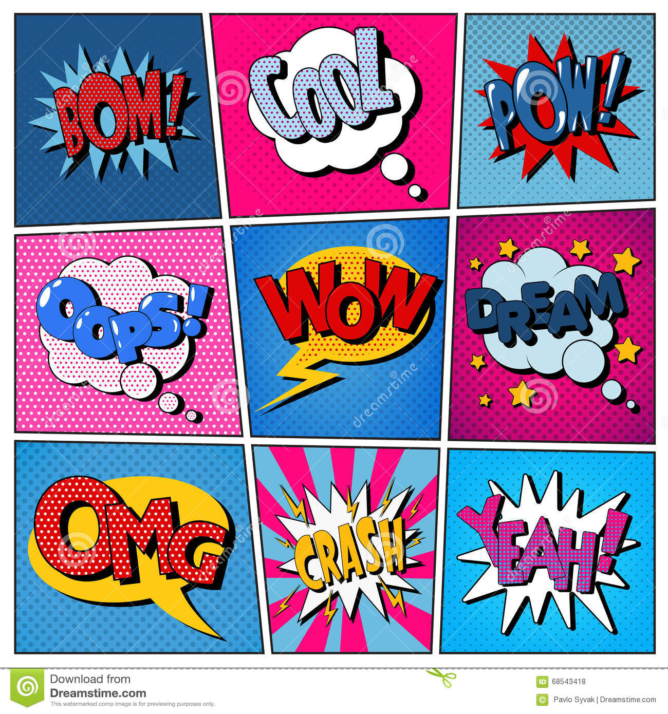 Cool Talk Bubble Comic Bubbles Set. Exp...