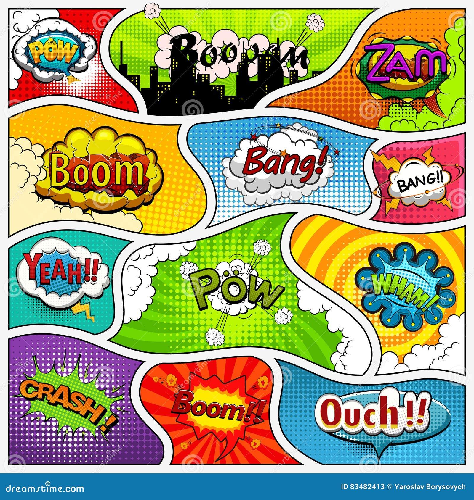 Comic-Buch-Seitenhintergrund geteilt durch Linien Retro- Hintergrundmodell und -Klangeffekt Comics-Schablone Vektor