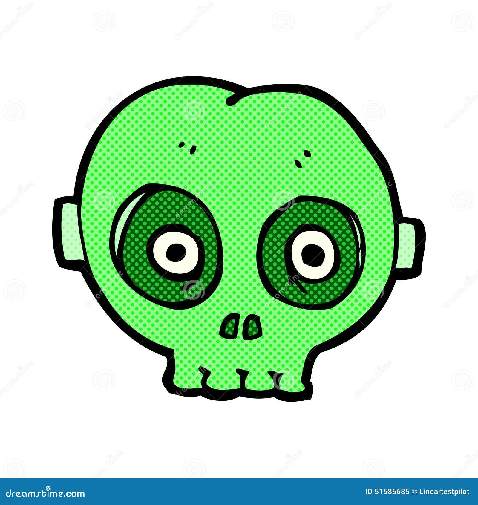 Comic Cartoon Halloween Skull Mask Stock Illustration - Image ...