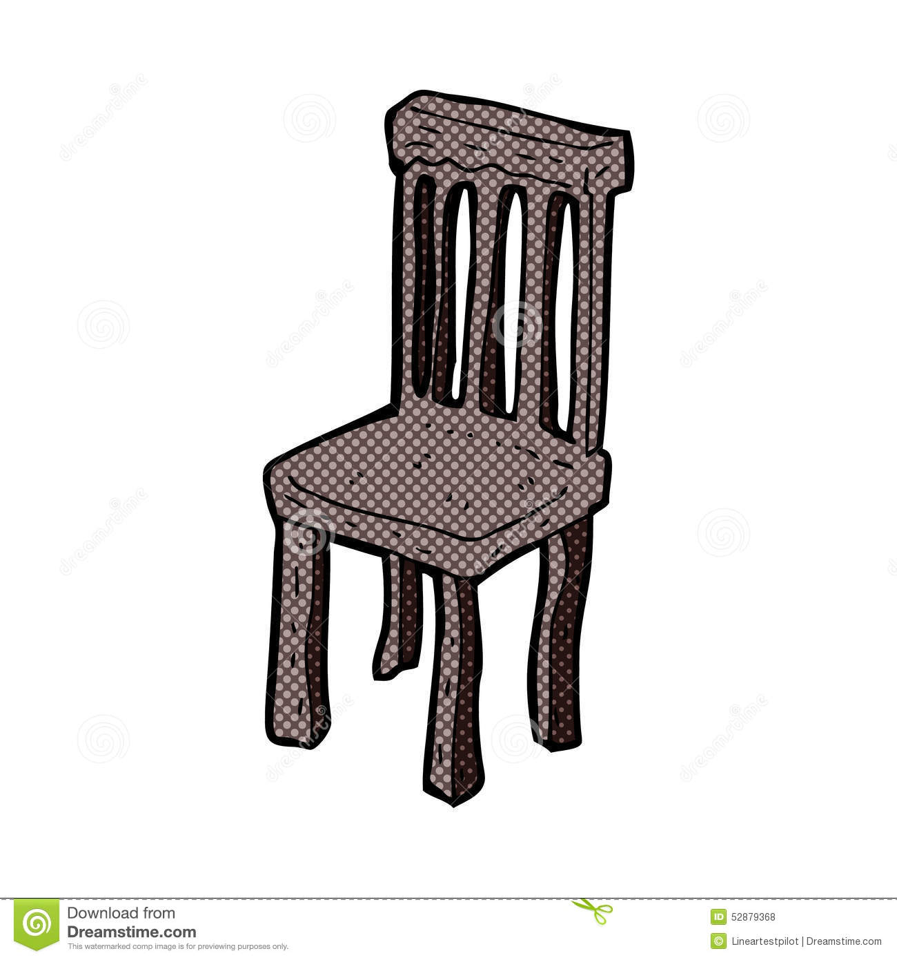 Comic cartoon old wooden chair stock illustration image