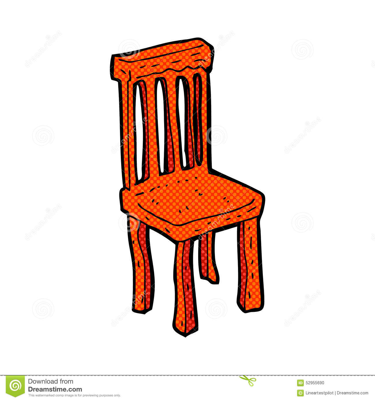 Comic Cartoon Old Wooden Chair Stock Illustration - Image ...