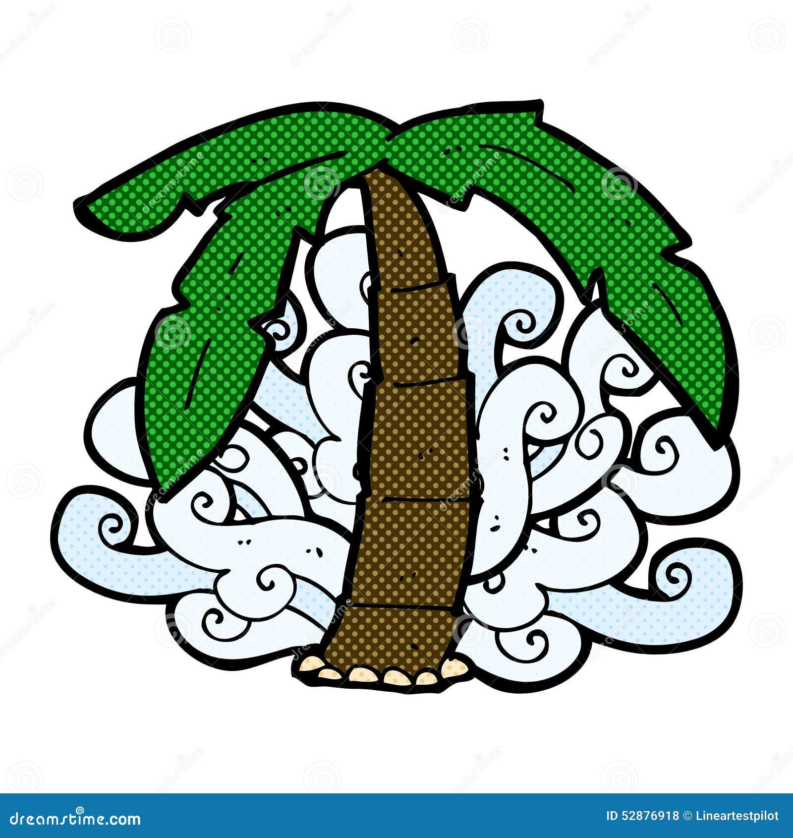 Comic Cartoon Palm Tree Symbol Stock Illustration Illustration Of