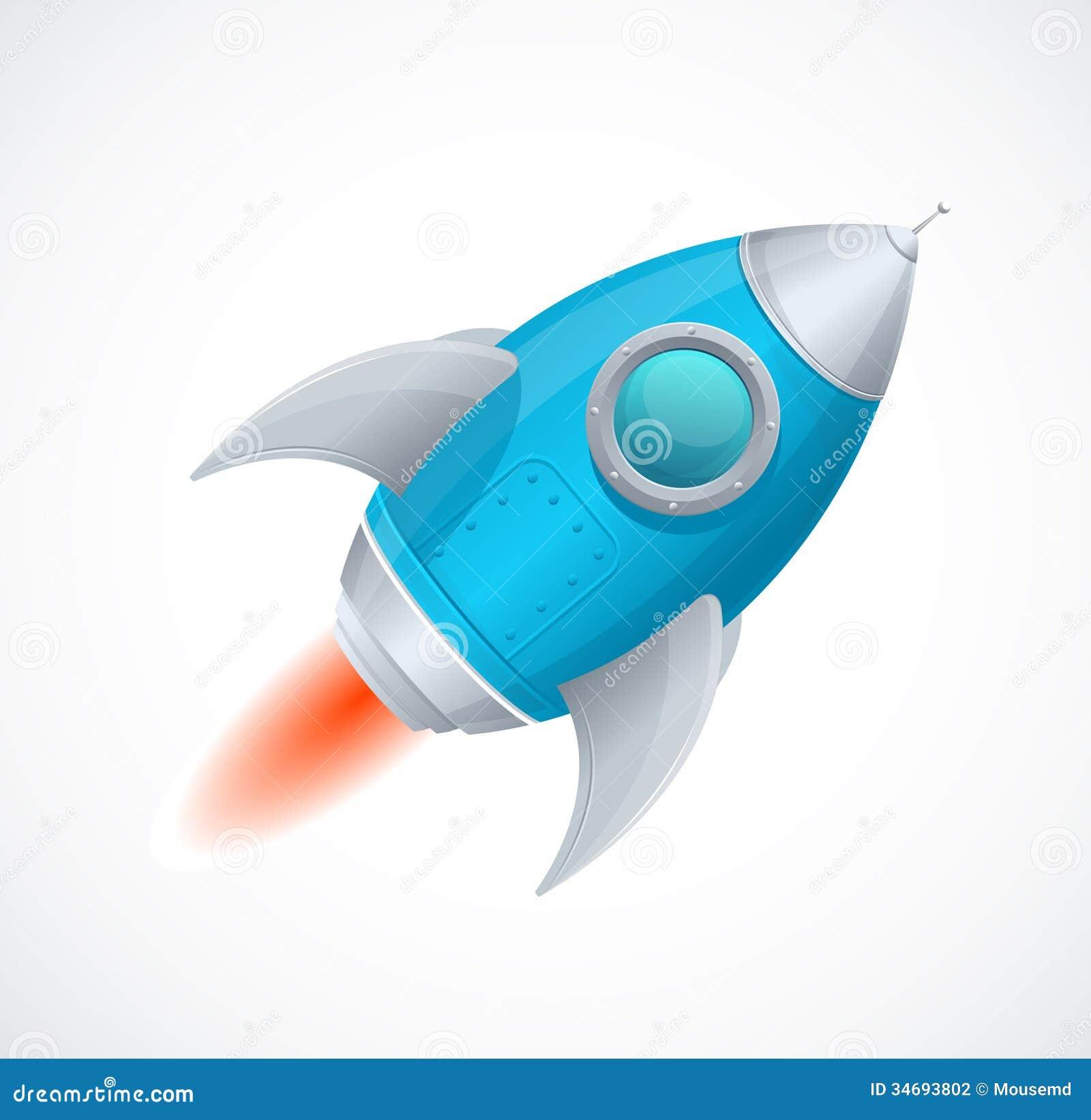 Comic Cartoon Rocket Space Ship Blue Stock Vector - Image ...