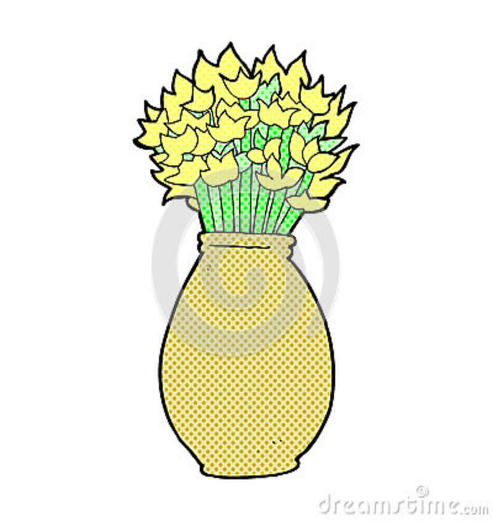 Comic Cartoon Vase Of Flowers Stock Illustration Illustration Of