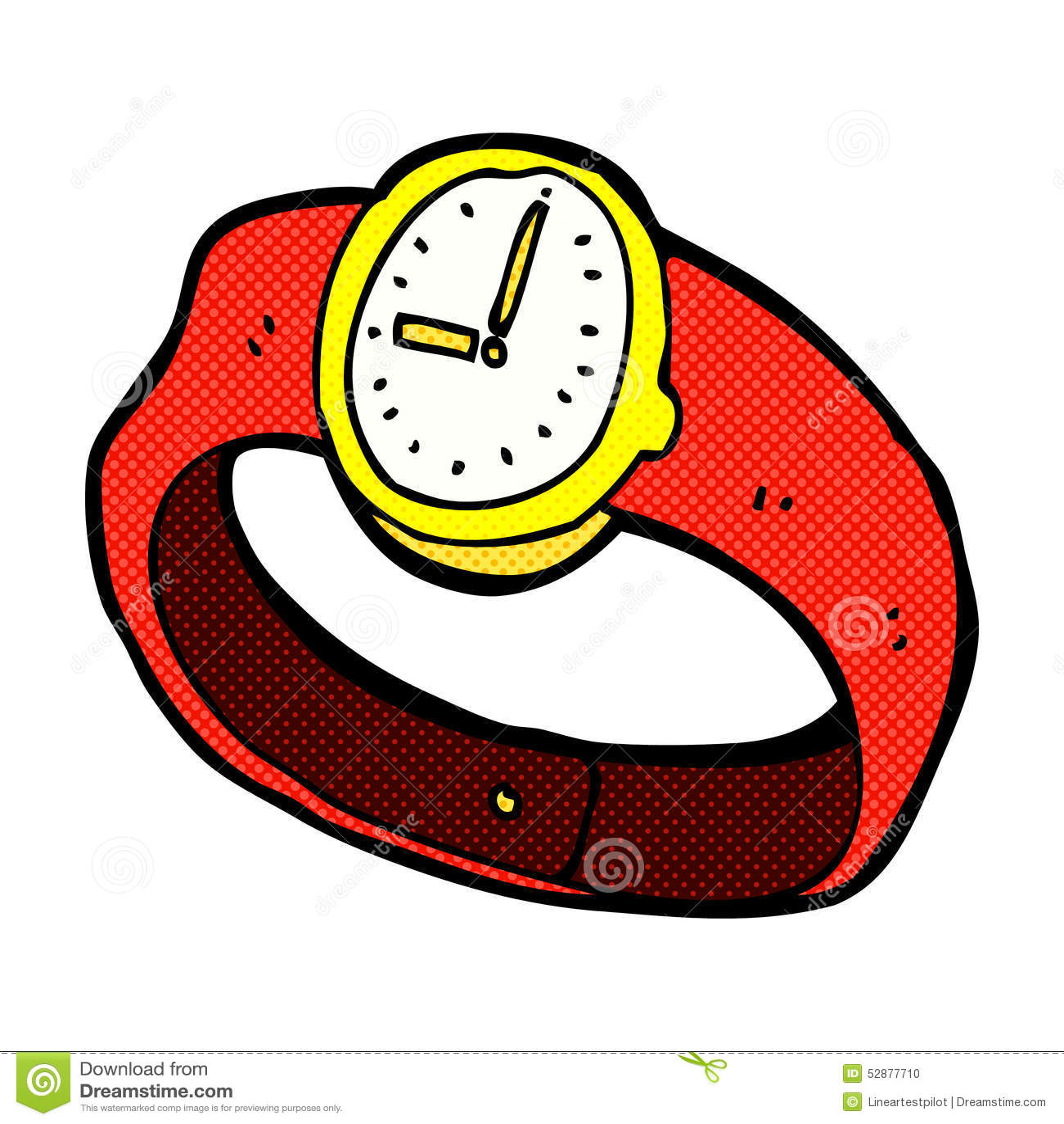 Comic cartoon wrist watch stock illustration illustration of print 52877710 for Cartoon watches