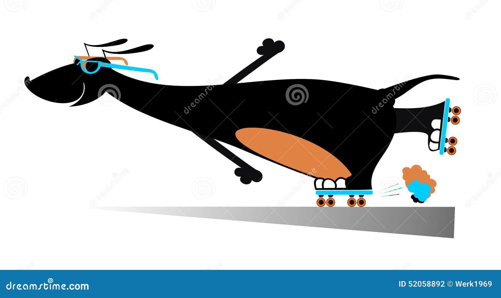 Roller skates for dogs - Comic Dog Roller Skates Stock Photography