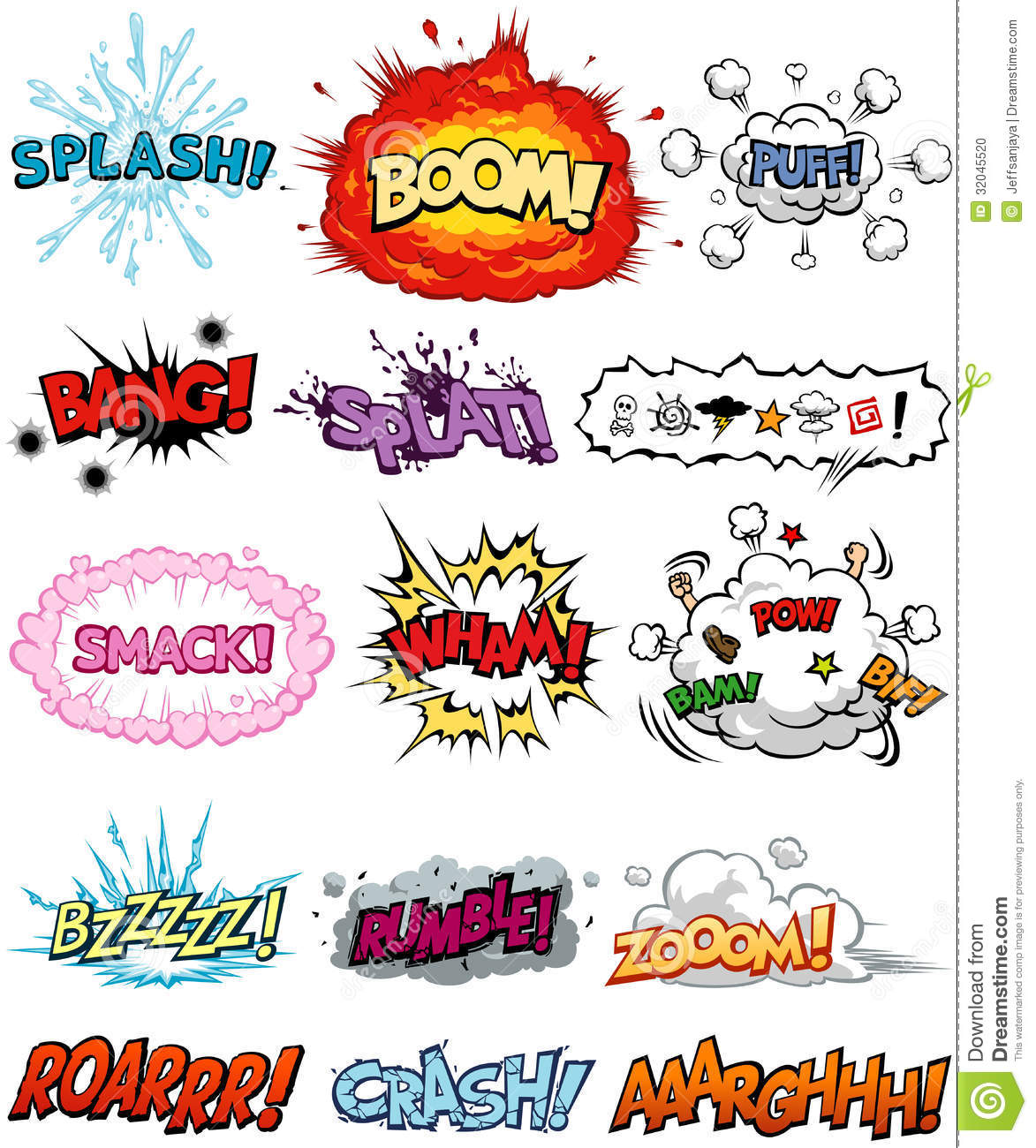collection of Comic Elements, including onomatopoeia and sound ...