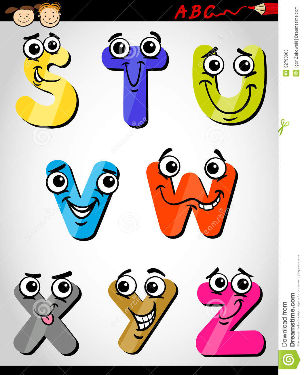 9 Letter Cartoon Characters : Comic letters alphabet cartoon illustration stock vector