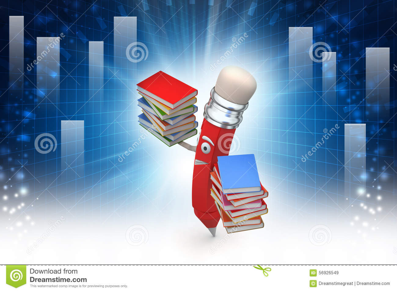 Comic pencil with books stock illustration  Illustration of