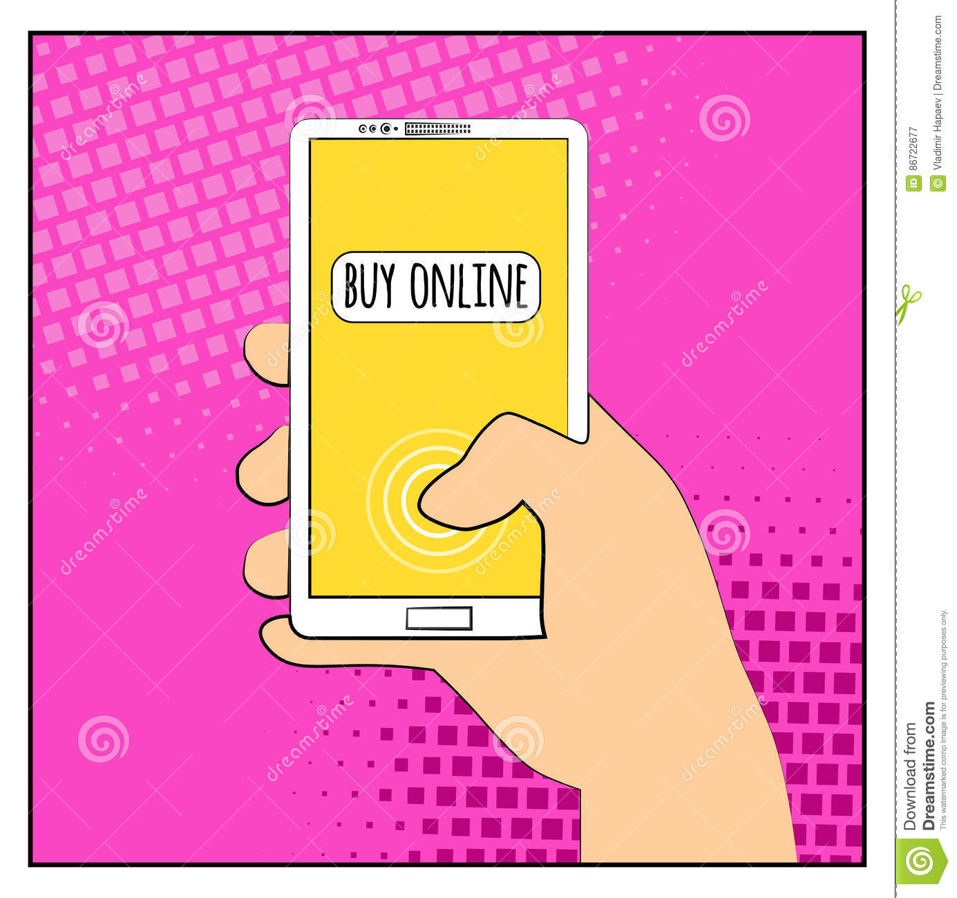 Comic Phone With Halftone Shadows. Hand Holding Smartphone With ...