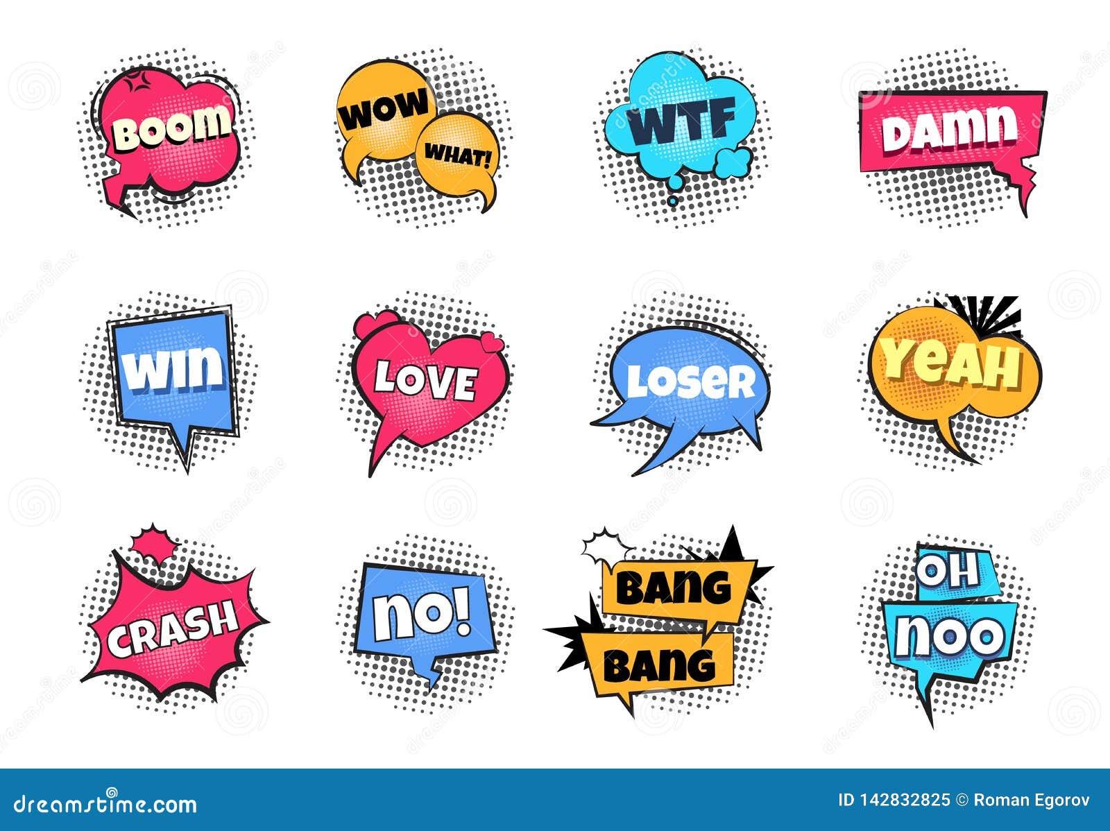 Comic pop art bubbles. Cartoon text balloon wow explosion sticker fun speech bubble comics retro cloud boom bubble