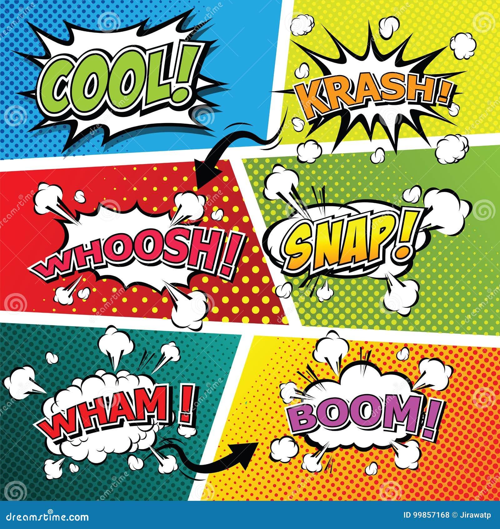 Comic Sound Effect Speech Bubble Pop Art  Stock Vector