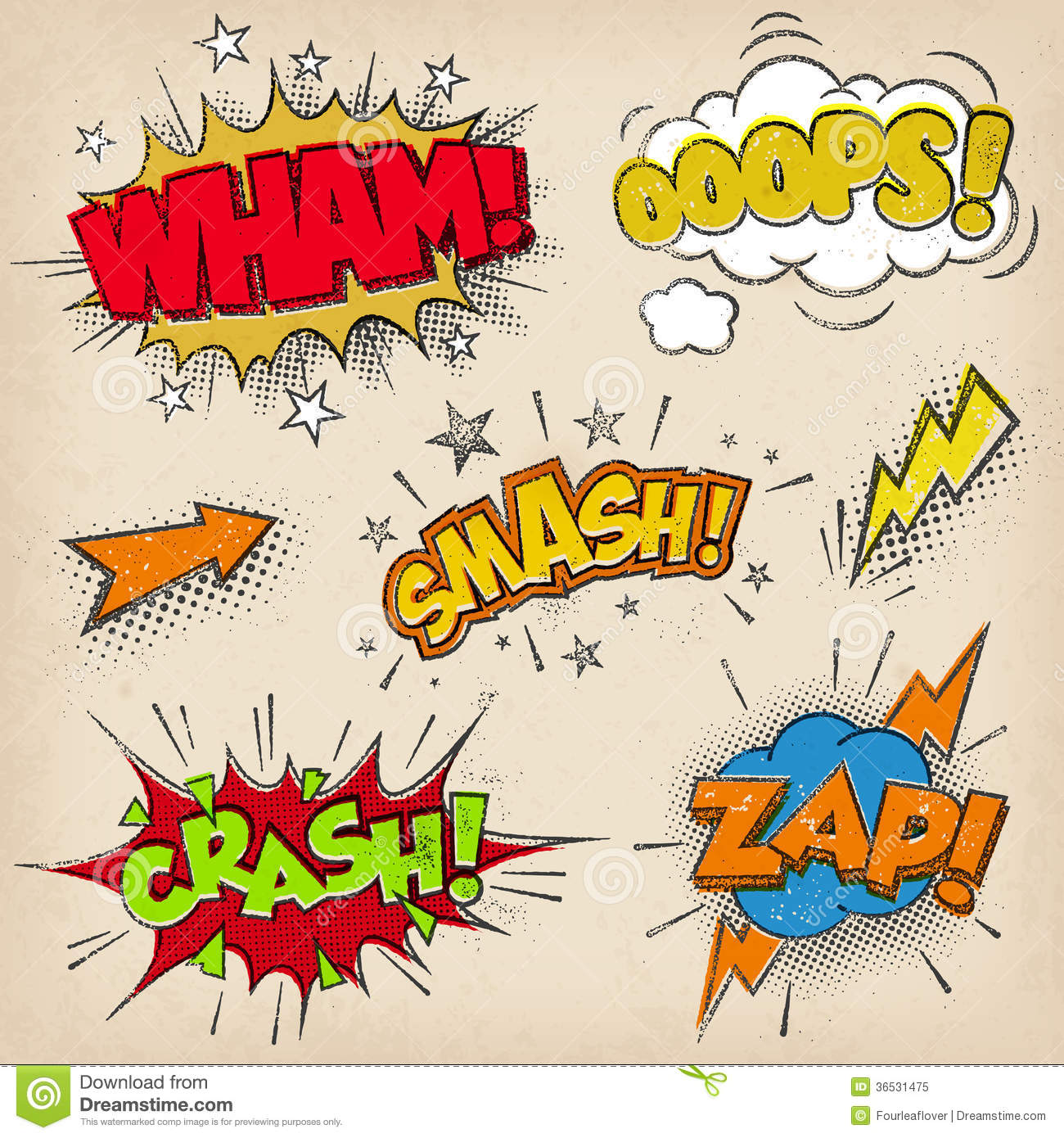 Comic Sound Effects With Grunged Style Set2 Royalty Free