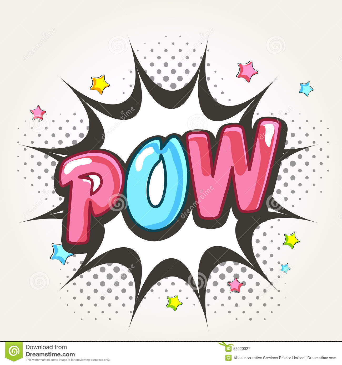Comic Speech Bubble With Shiny Text Pow. Stock ...