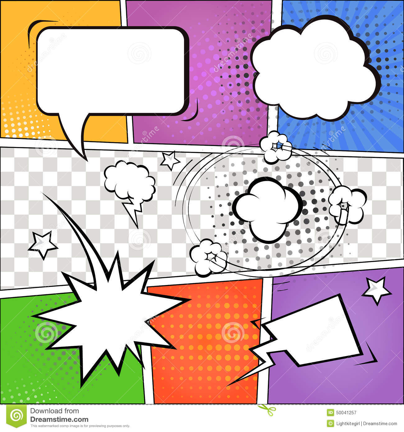 Comic speech bubbles and comic strip on colorful halftone background ...