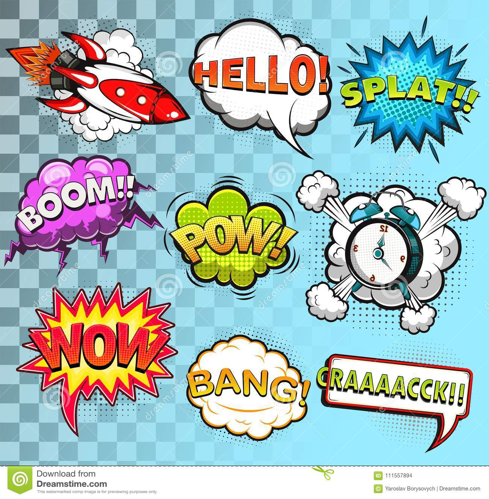 comic speech bubbles sound effects vector stock vector
