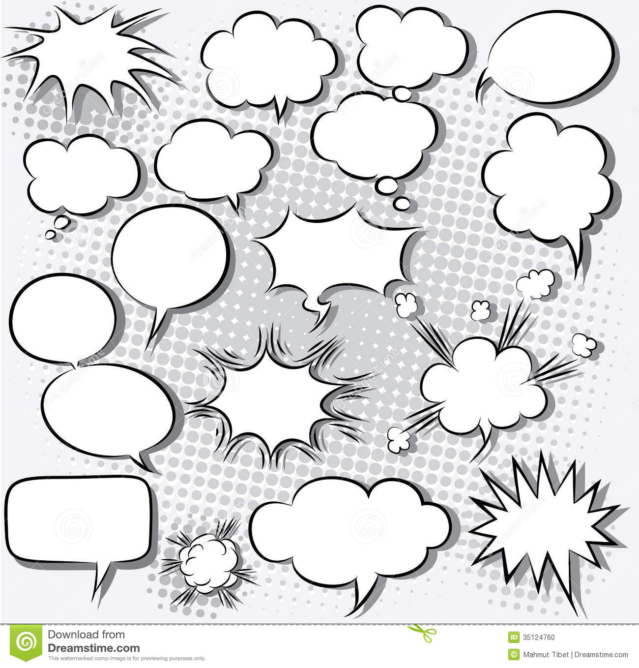 comic strip bubble template - comic speech bubbles stock vector illustration of