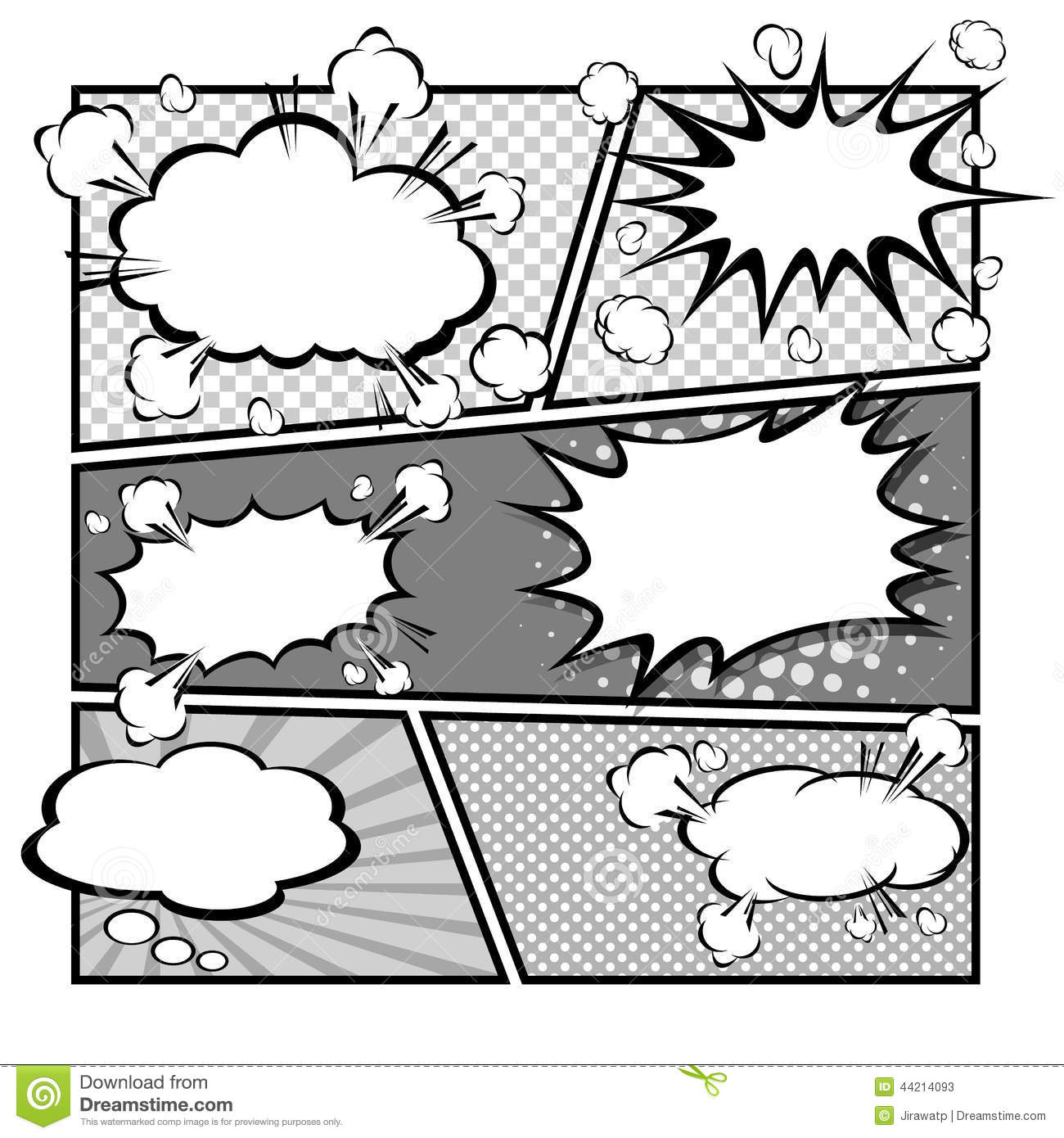 Comic speech bubbles vector illustration stock vector for Comic strip bubble template