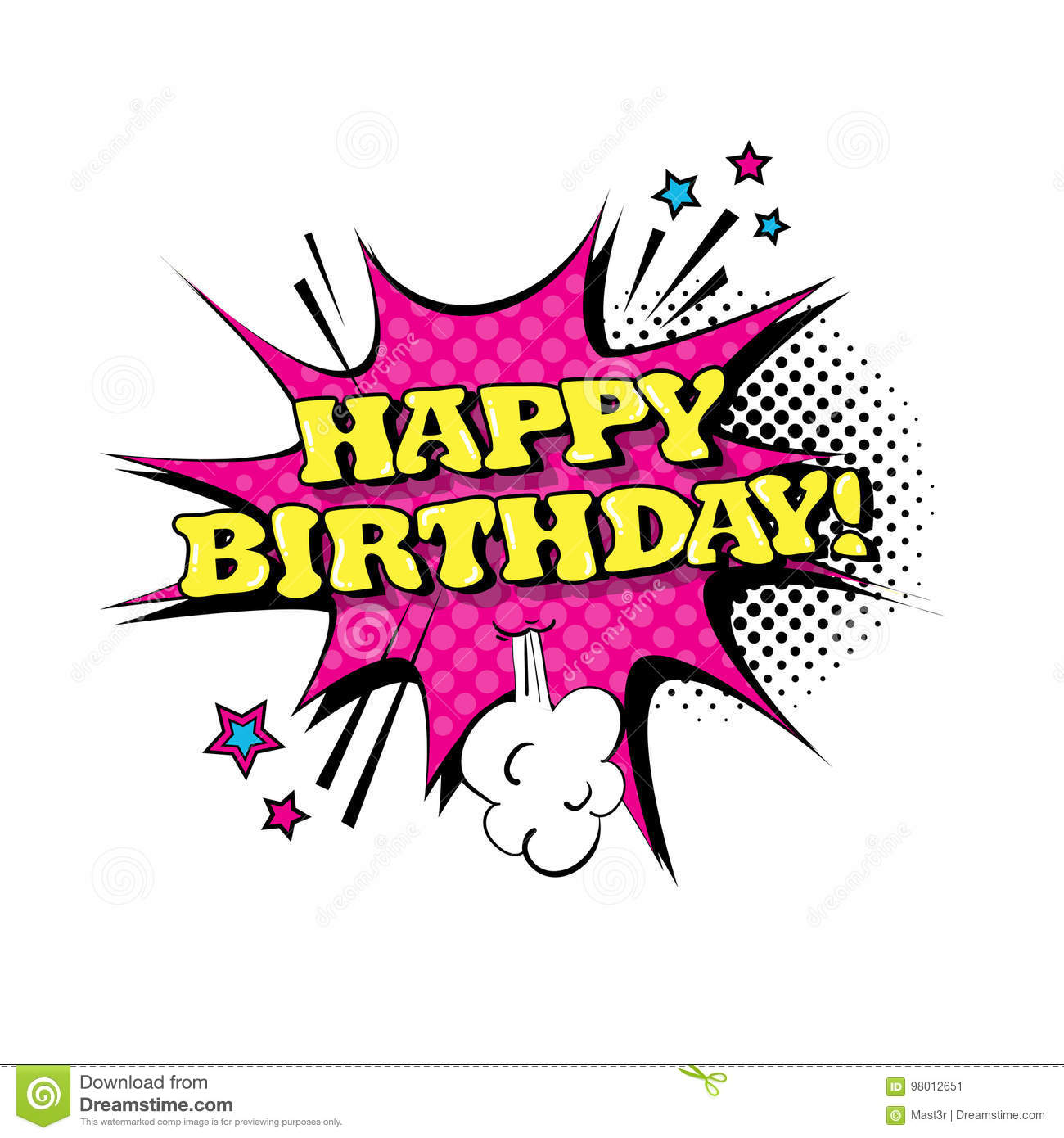 Comic Speech Chat Bubble Pop Art Style Happy Birthday Expression Text Icon
