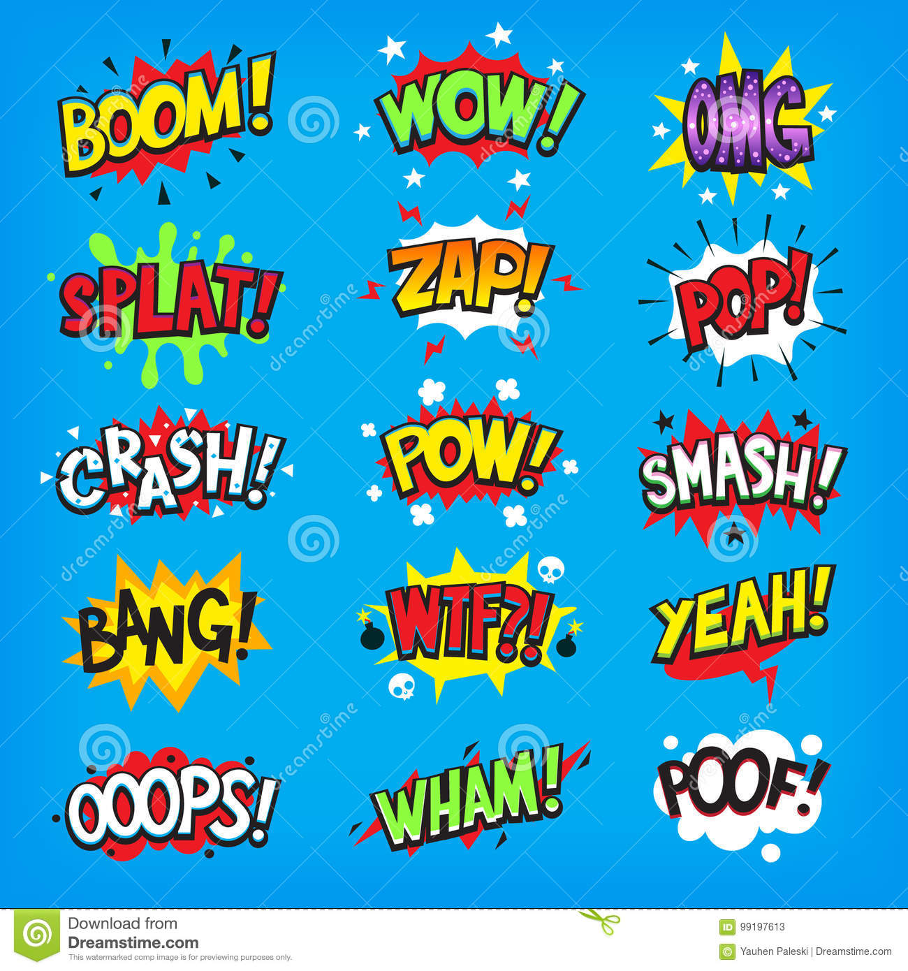 comic speech clouds with sound effects stock vector illustration