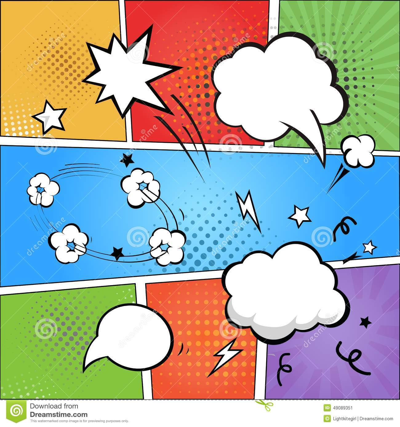comic book template powerpoint - comic strip and comic speech bubbles on colorful stock