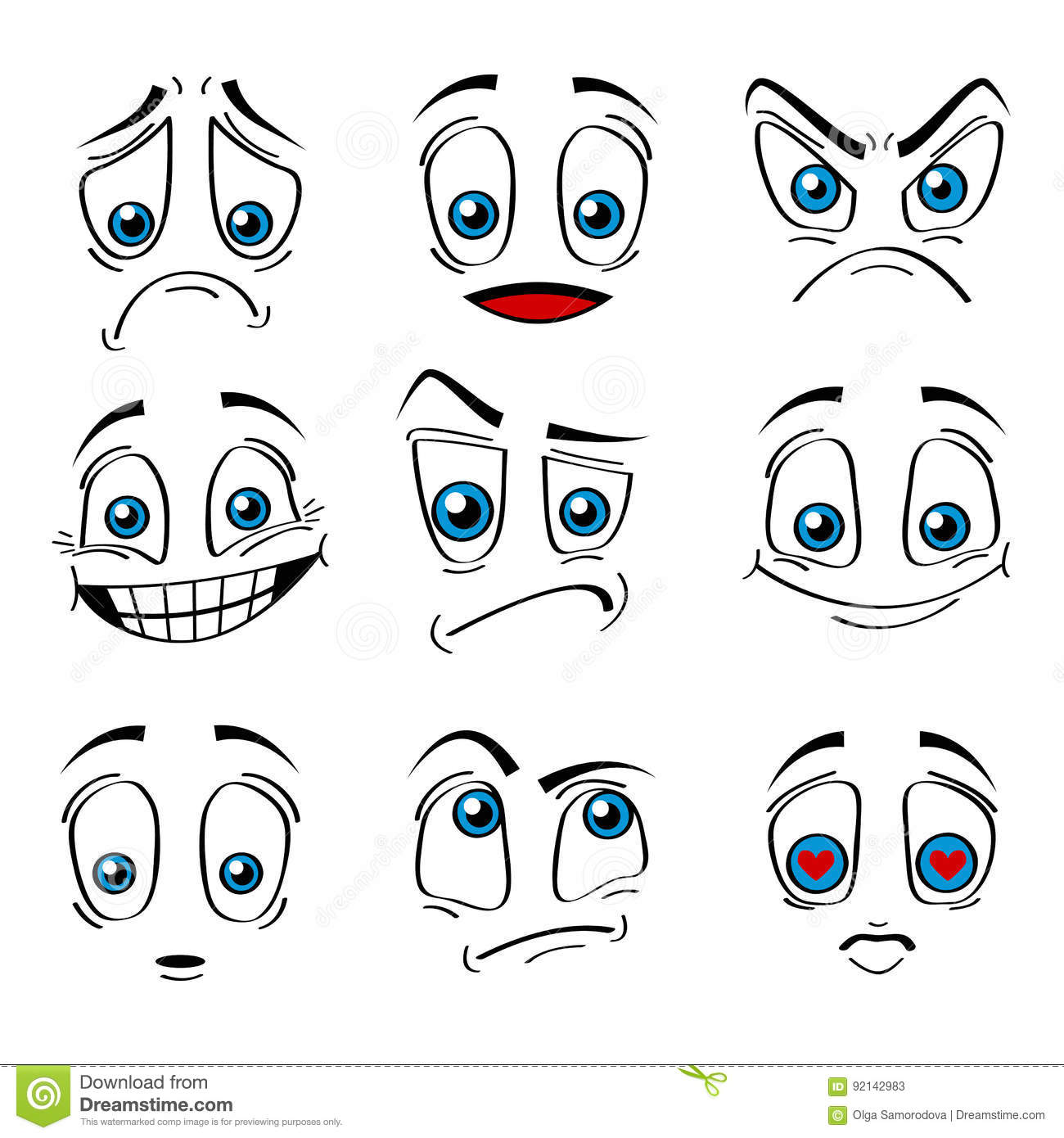 Download Comic Style Faces Emotions Expression Set. Vector Stock Vector - Illustration of humor, anger: 92142983