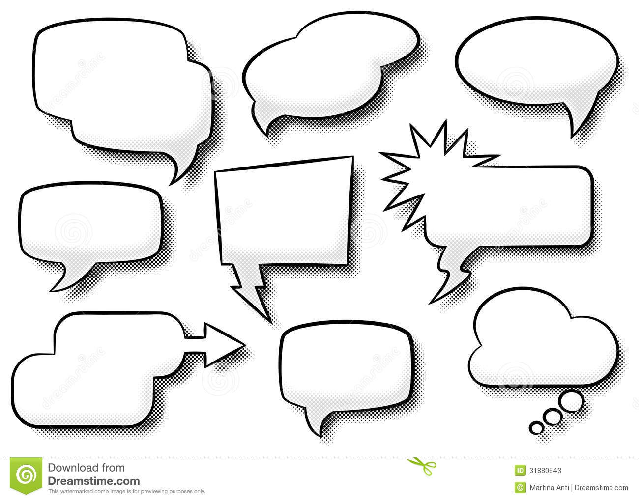 Comic style speech bubbles stock vector image of speech for Comic strip bubble template