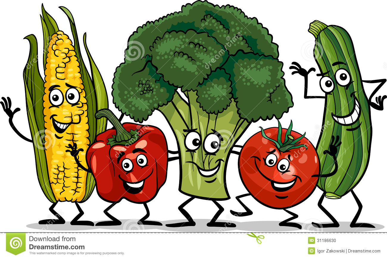 comic vegetables group cartoon illustration stock photo