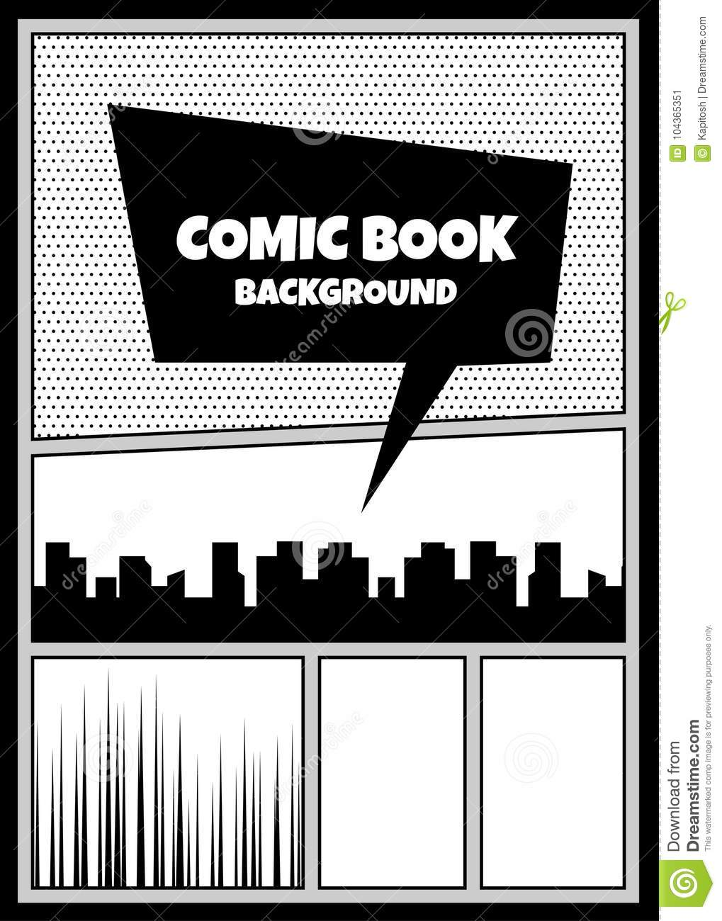 Comic Book Pop Art Monochrome Mock Up Stock Vector