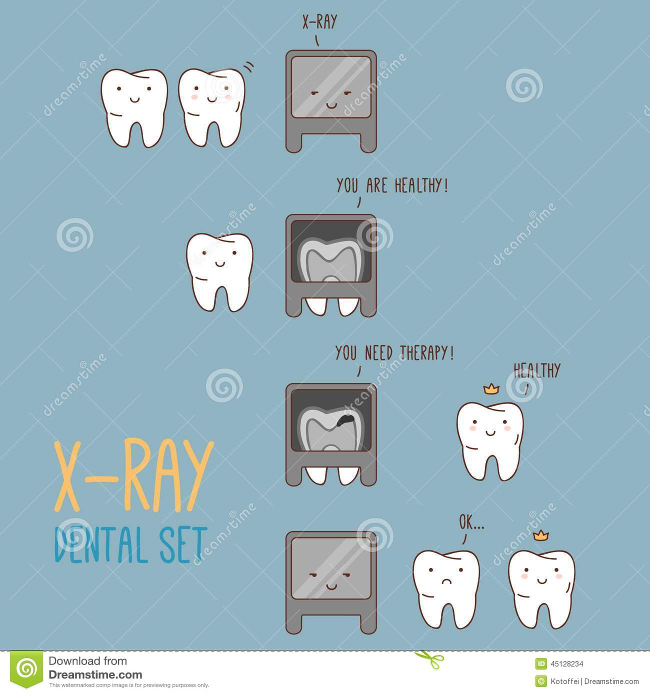 Comics About Dental X Ray Vector Illustration For Stock