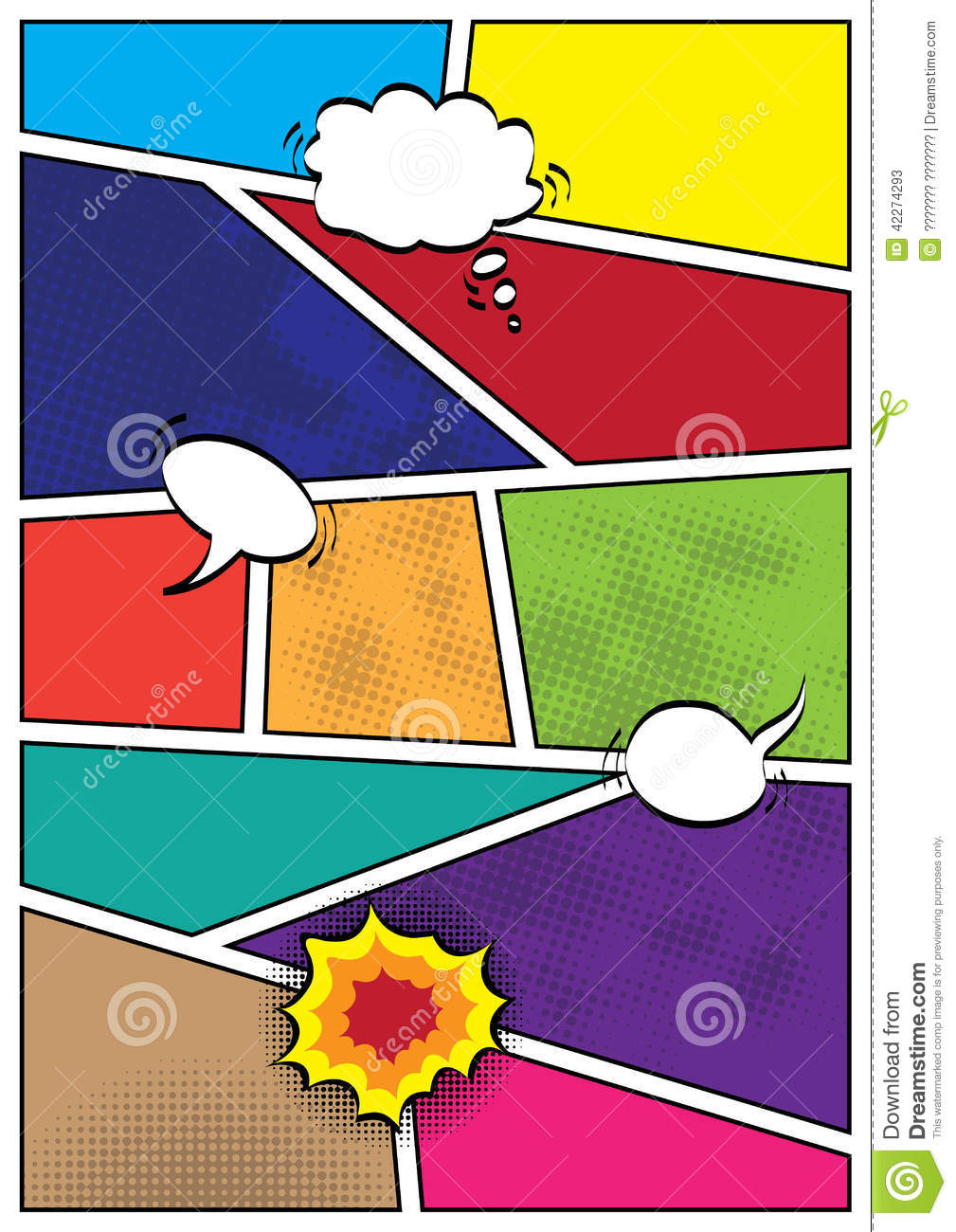Stock Vector: Comics popart style blank layout template