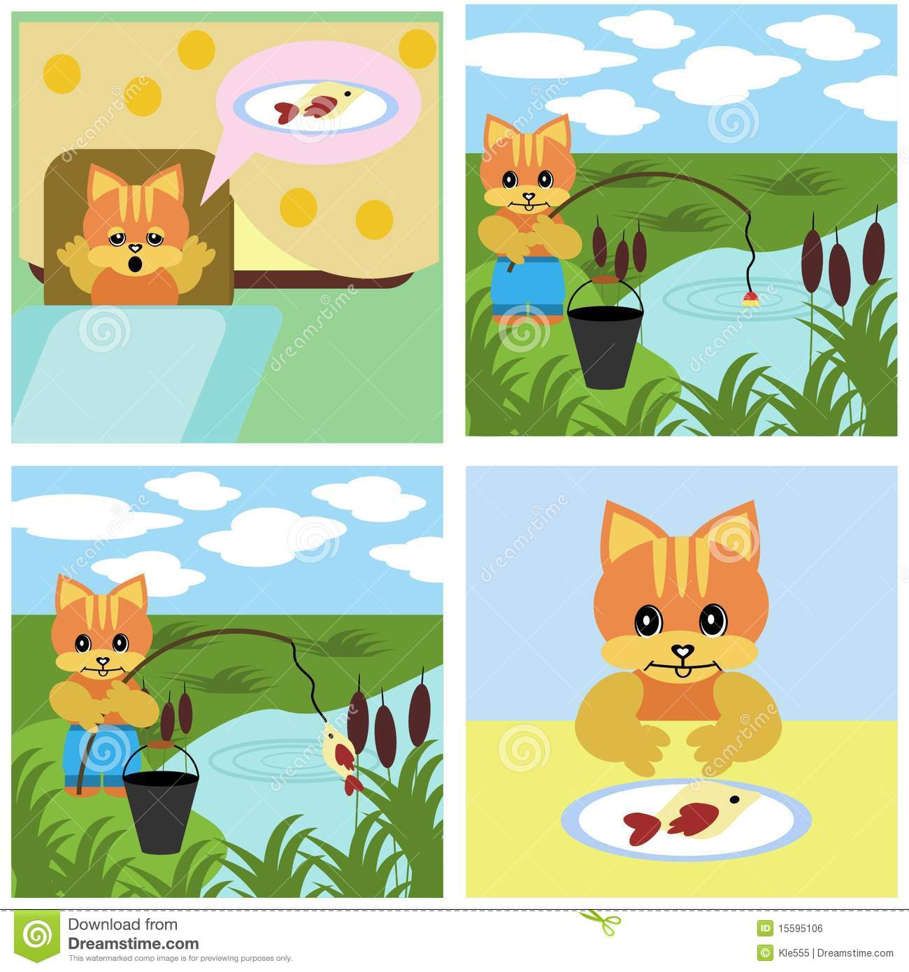Comics Short Story About Cat Stock Vector - Illustration ...