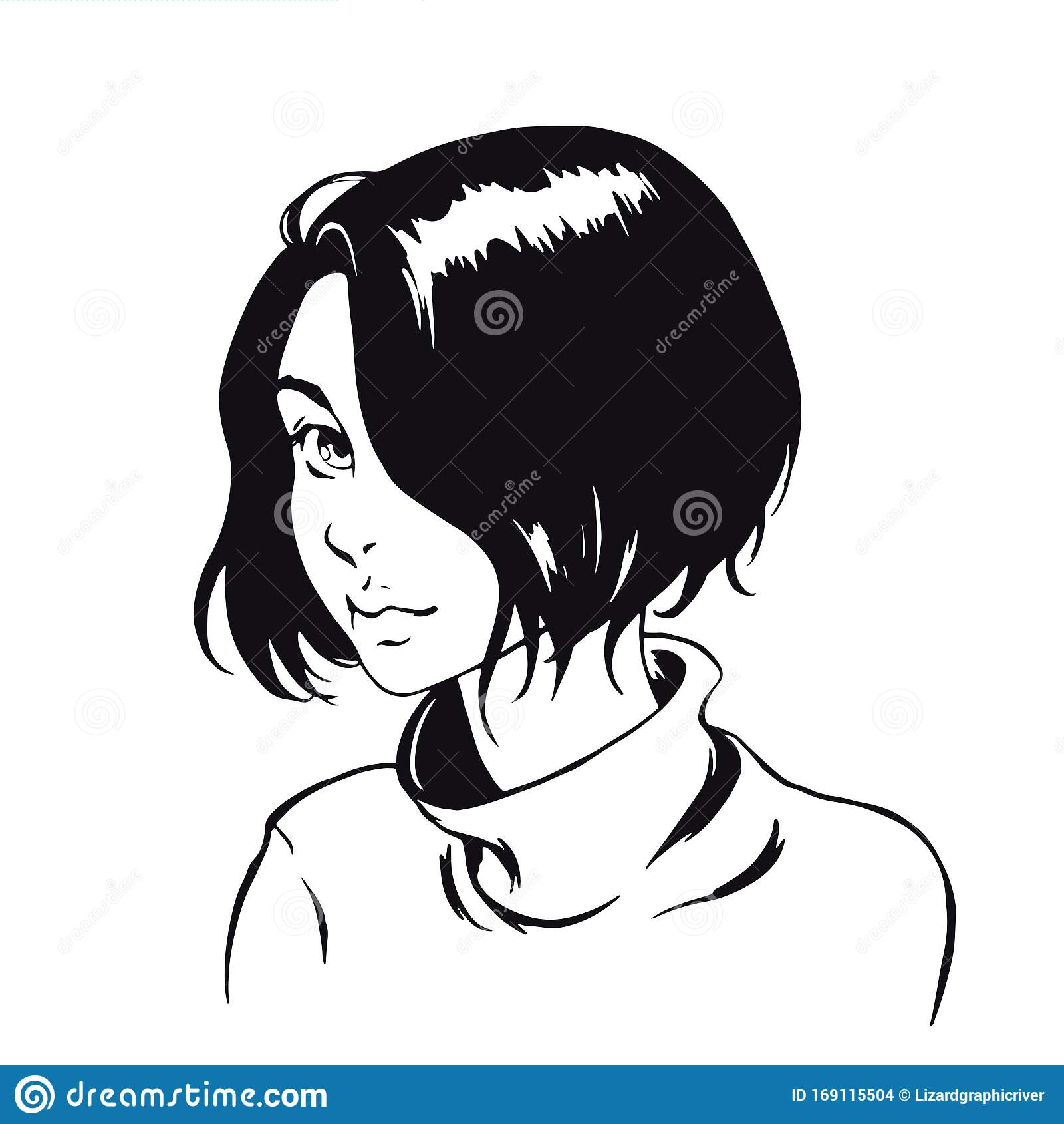Comics Style Graphic Illustration Cute Anime Girl With Short Hair