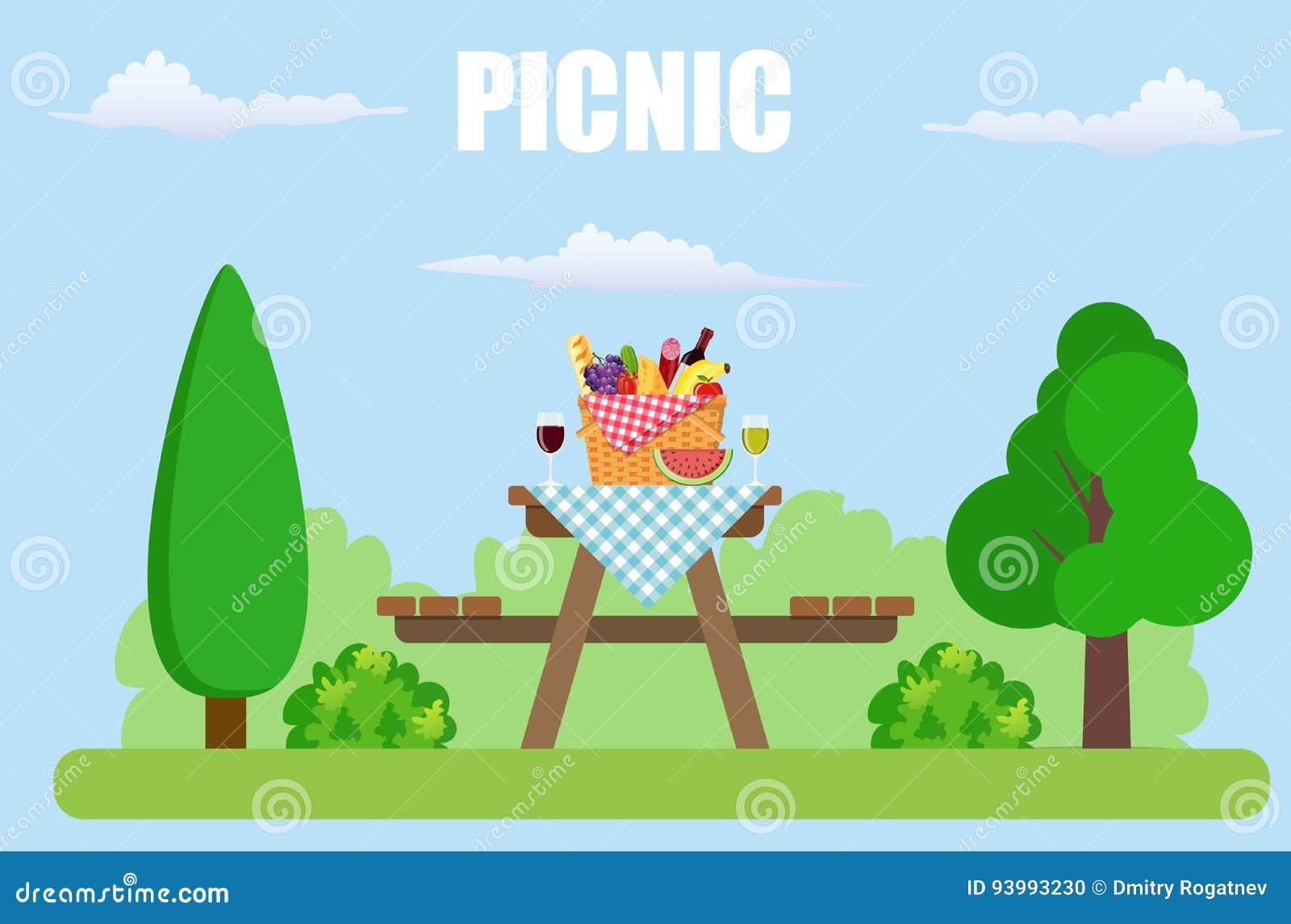 Comida campestre al aire libre en parque