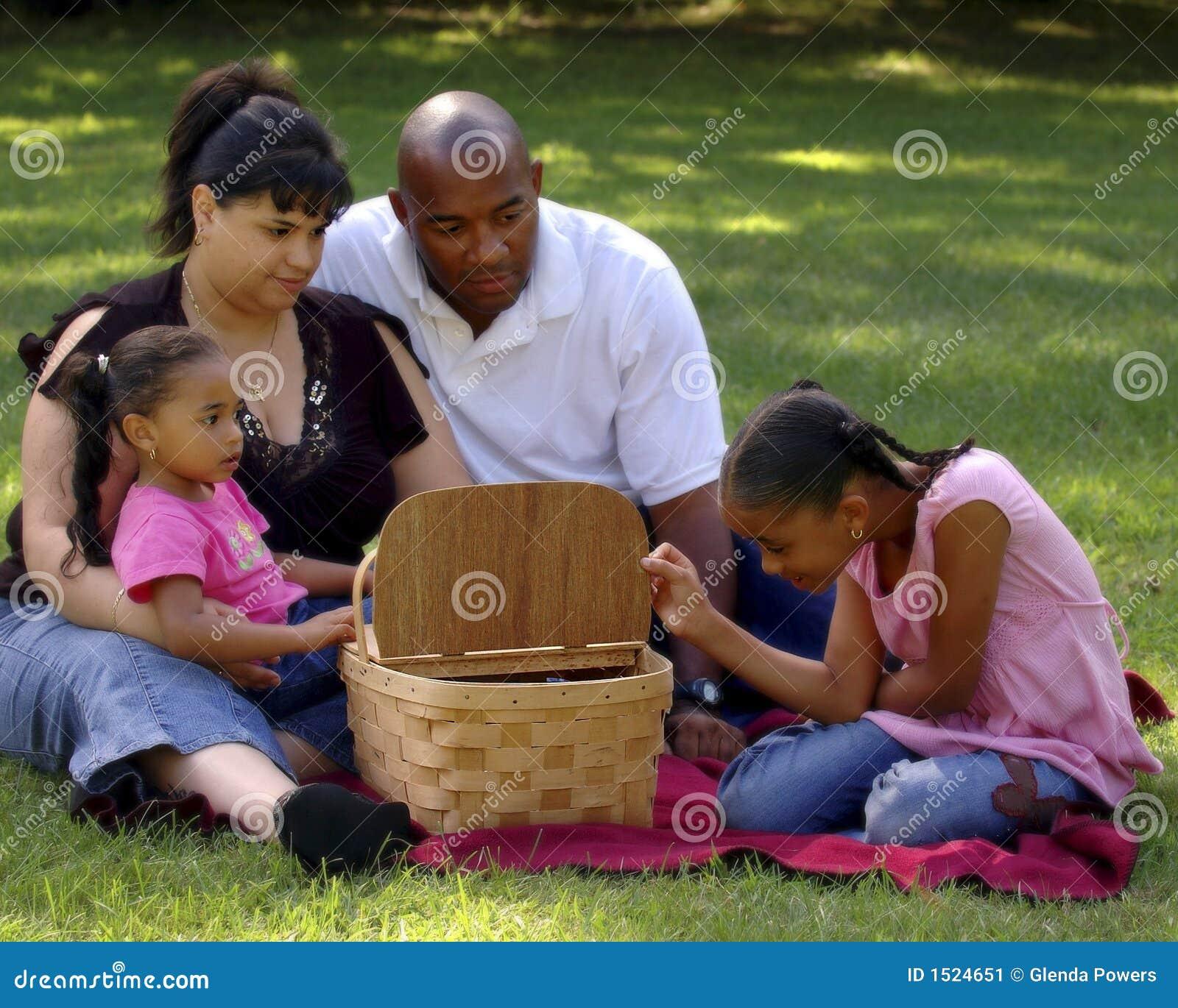 Comida campestre Bi-racial de la familia