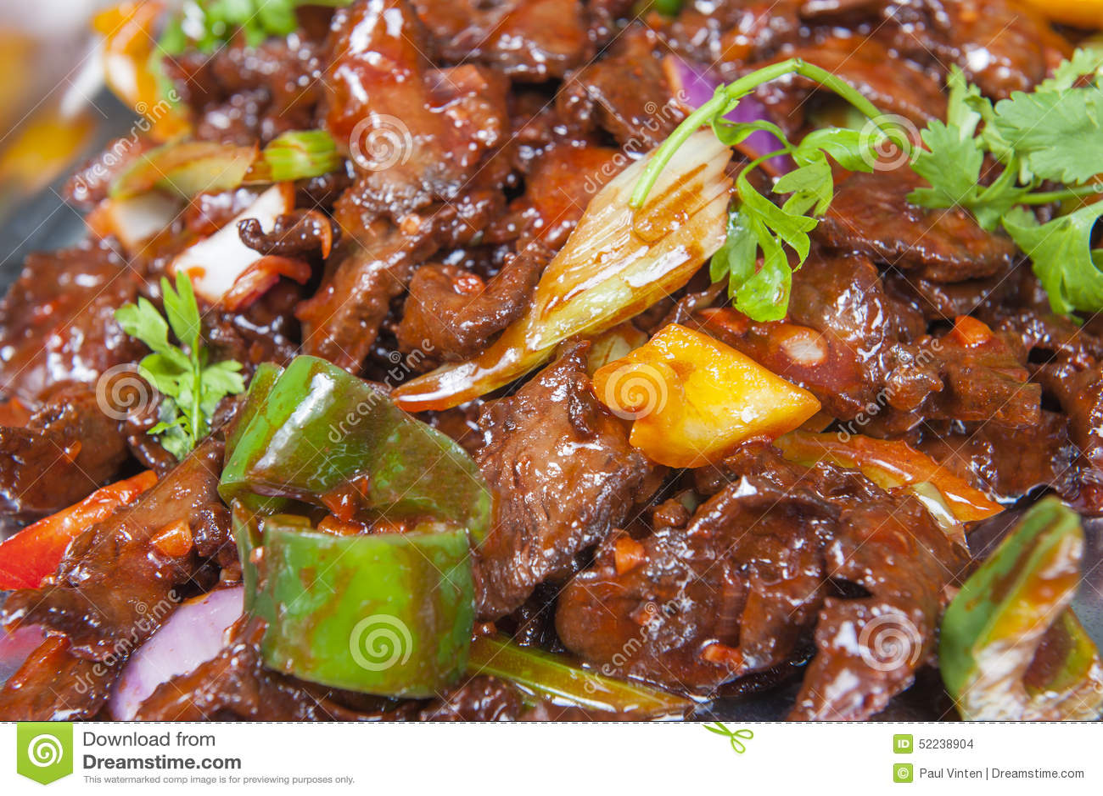 Comida China De Szechuan De La Carne De Vaca En Una Comida Fría Foto ...